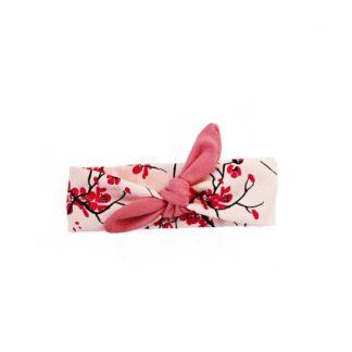 Opaska pin up wiśnia z różową kokardką