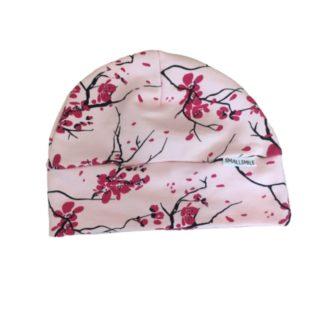 Czapeczka różowa dla dziewczynki w kwiatuszki