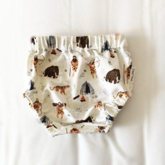 Bloomersy białe jaskiniowcy i mamuty dla chłopca
