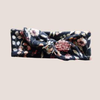 opaska wiązana czarna dla dziewczynki kwiaty vintage pin up
