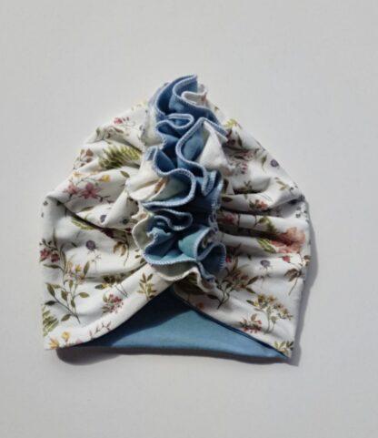 podwójny turban z falbanką kremowo niebieski