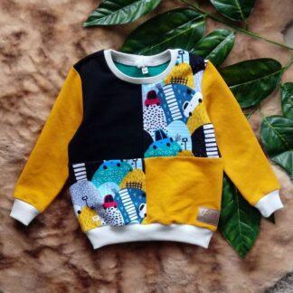 bluza z łączonych materiałów dla chłopca bez kaptura