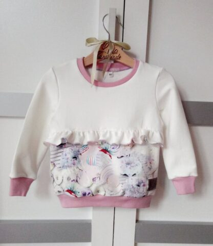 Bluza bez kaptura dla dziewczynki z falbanką