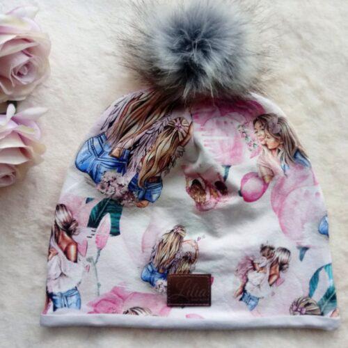 Podwójna czapka z pomponem mama i córka