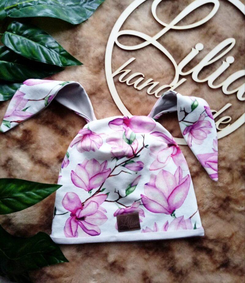 Czapka dla dziewczynki w kwiaty z uszami królika