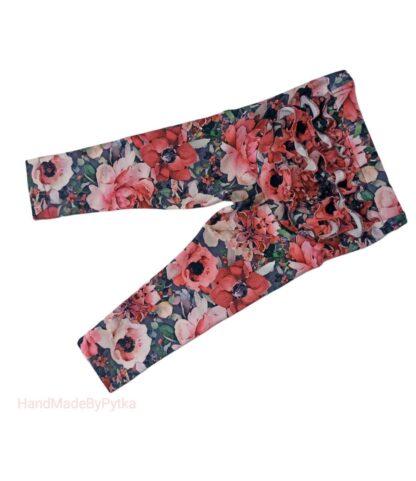 legginsy w czerwone kwiaty z falbanką na pupie